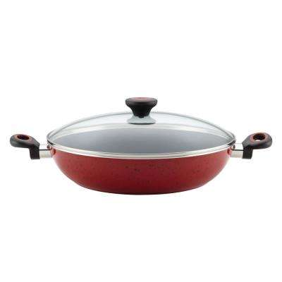 12.5 in. Red Speckle Riverbend Aluminum Nonstick Covered Chicken Fryer with Side Handles