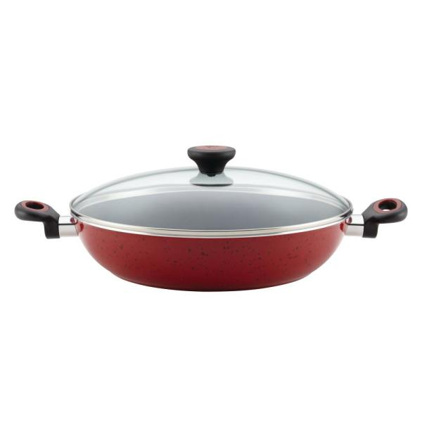 Riverbend 12.5 in. Aluminum Nonstick Skillet in Red Speckle with Glass Lid