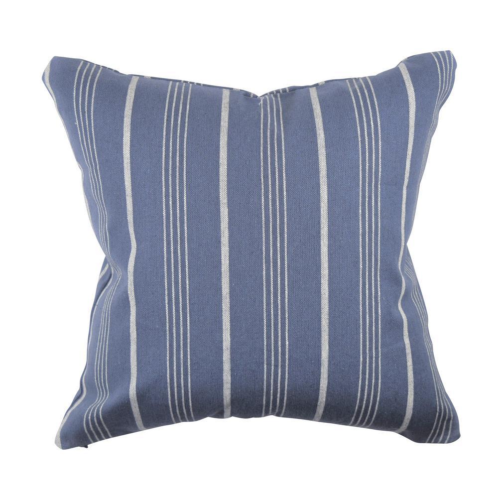 Cool Blue Striped Jacquard Throw Pillow