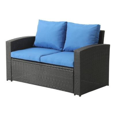 Wicker Outdoor Patio Loveseat with Blue Cushions