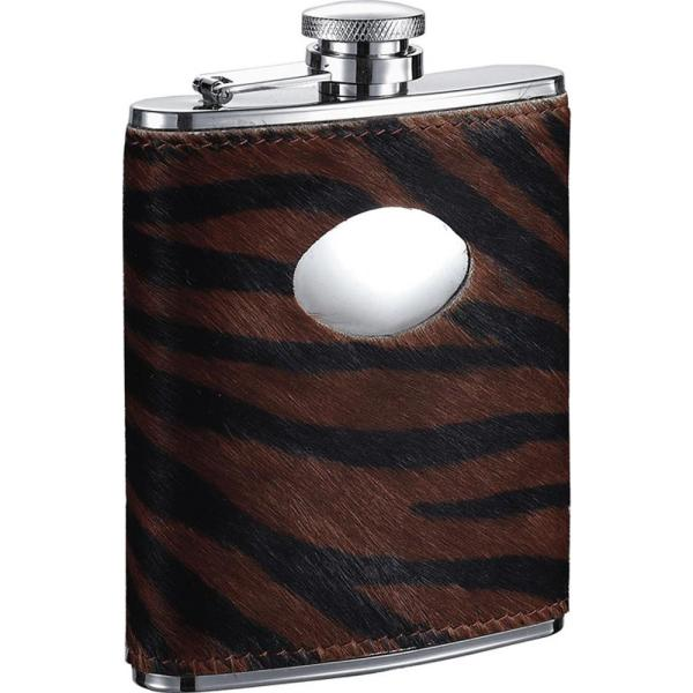 Visol Bengal Synthetic Tiger Pattern Calf Hair Liquor Flask VF1285