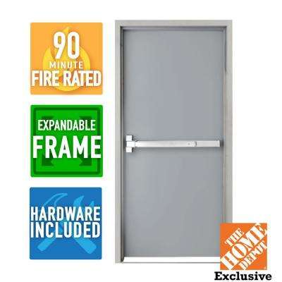 36 in. x 84 in. Fire-Rated Left Hand Unfinished Steel Commercial Door Slab with Panic Bar and Adjustable Frame