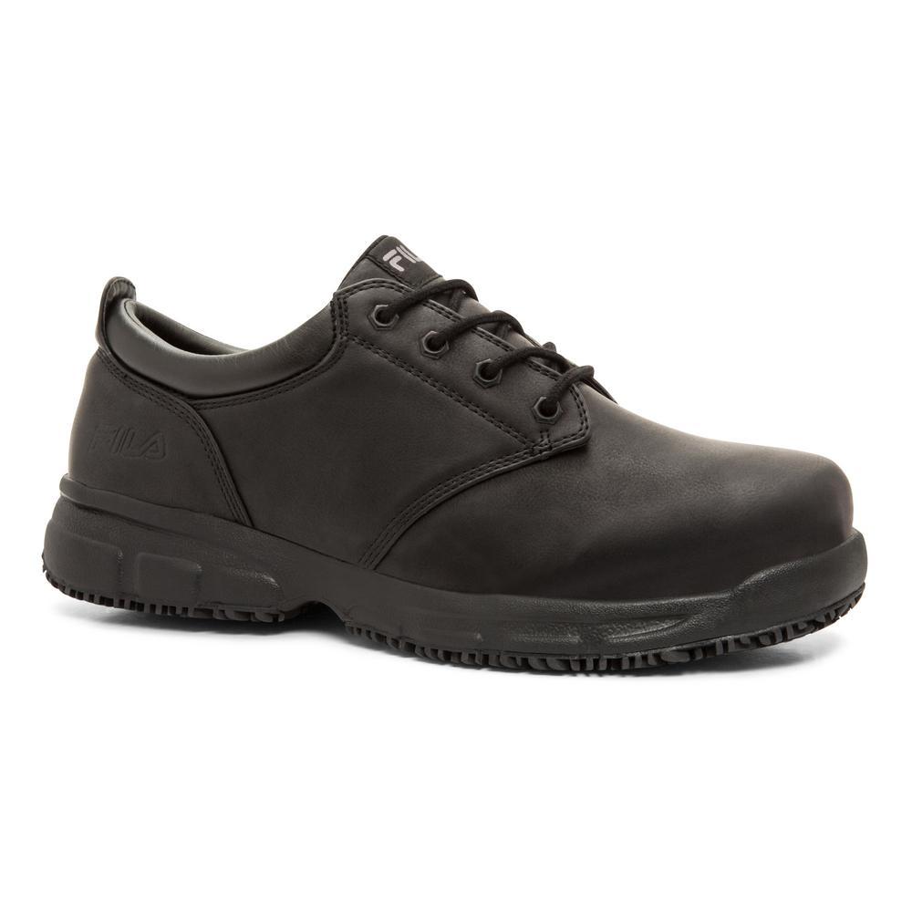 Fila Men's Memory Blake Slip Resistant Oxford Shoes Soft Toe BLACK Size 12(M)