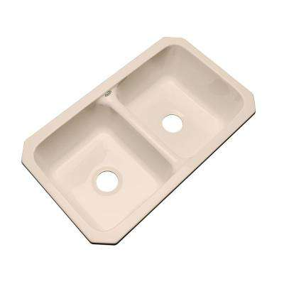Newport Undermount Acrylic 33 in. Double Bowl Kitchen Sink in Peach Bisque
