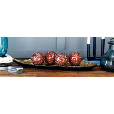 4 in. Dia Gray, Red, Pink, and Gold Glass and PVC Mosaic Decorative Balls (Set of 4)