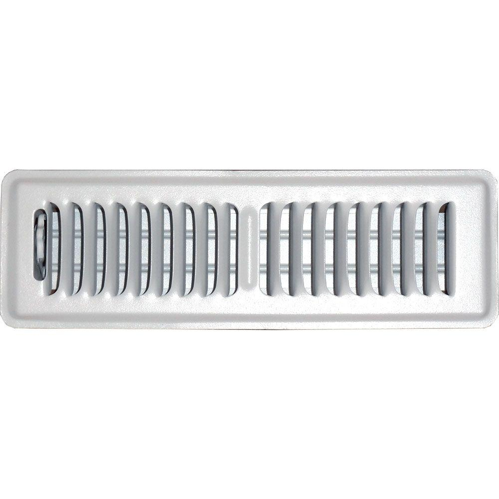 2 in. x 10 in. Floor Vent Register, White with 2-Way