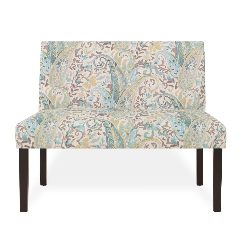 Handy living nate multi sky blue paisley armless settee