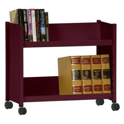 2-Sloped Shelf Welded Booktruck in Burgundy