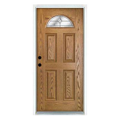 36 in. x 80 in. Valentia Light Oak Right-Hand Inswing Fan Lite Decorative Fiberglass Prehung Front Door