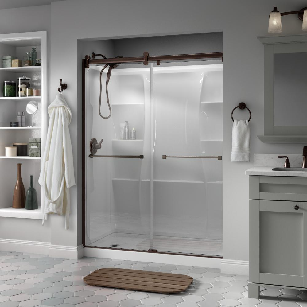 Delta Delta Everly 60 x 71 in. Frameless Contemporary Sliding Shower Door in Bronze with Clear Glass