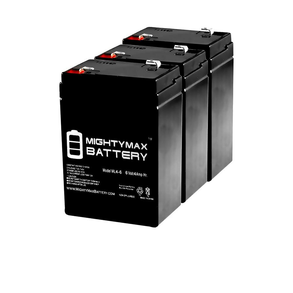 MIGHTY MAX BATTERY 6-Volt 4.5 Ah SLA (Sealed Lead Acid) AGM Type Replacement Battery for Alarm/Security Systems (3-Pack)