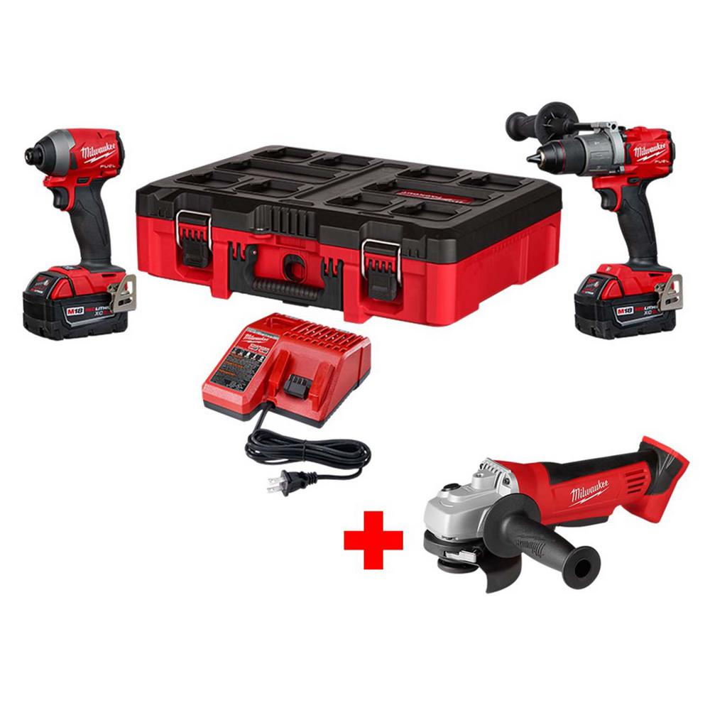 Milwaukee M18 FUEL 18-Volt Lithium-Ion Brushless Cordless Hammer Drill, Impact Driver Combo Kit with Free Grinder, PACKOUT Case