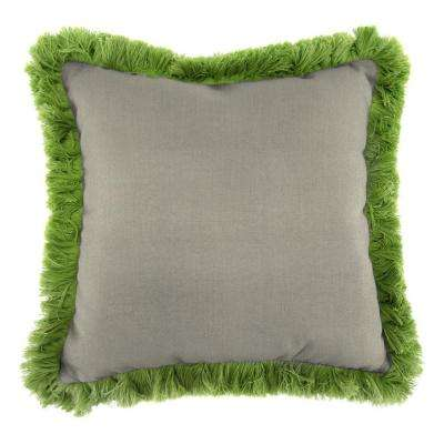 Sunbrella Spectrum Dove Square Outdoor Throw Pillow with Gingko Fringe