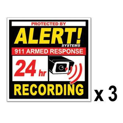 Large, Square Security Decals, Commercial Grade Silk Screened and Coated for extra outdoor durability (3-Pack)