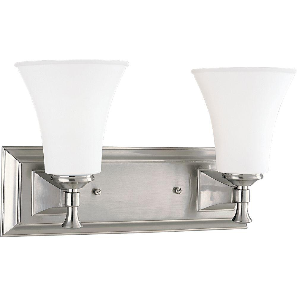 Fairfield Collection 2-Light Brushed Nickel Vanity Light with Opal Etched Glass