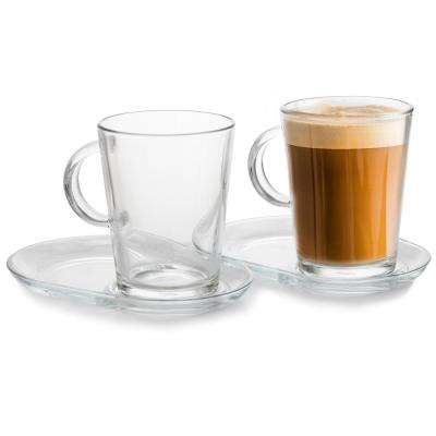 Barista Coffee Collection 13.25 oz. Clear Coffee Cup with Saucer (Set of 2)