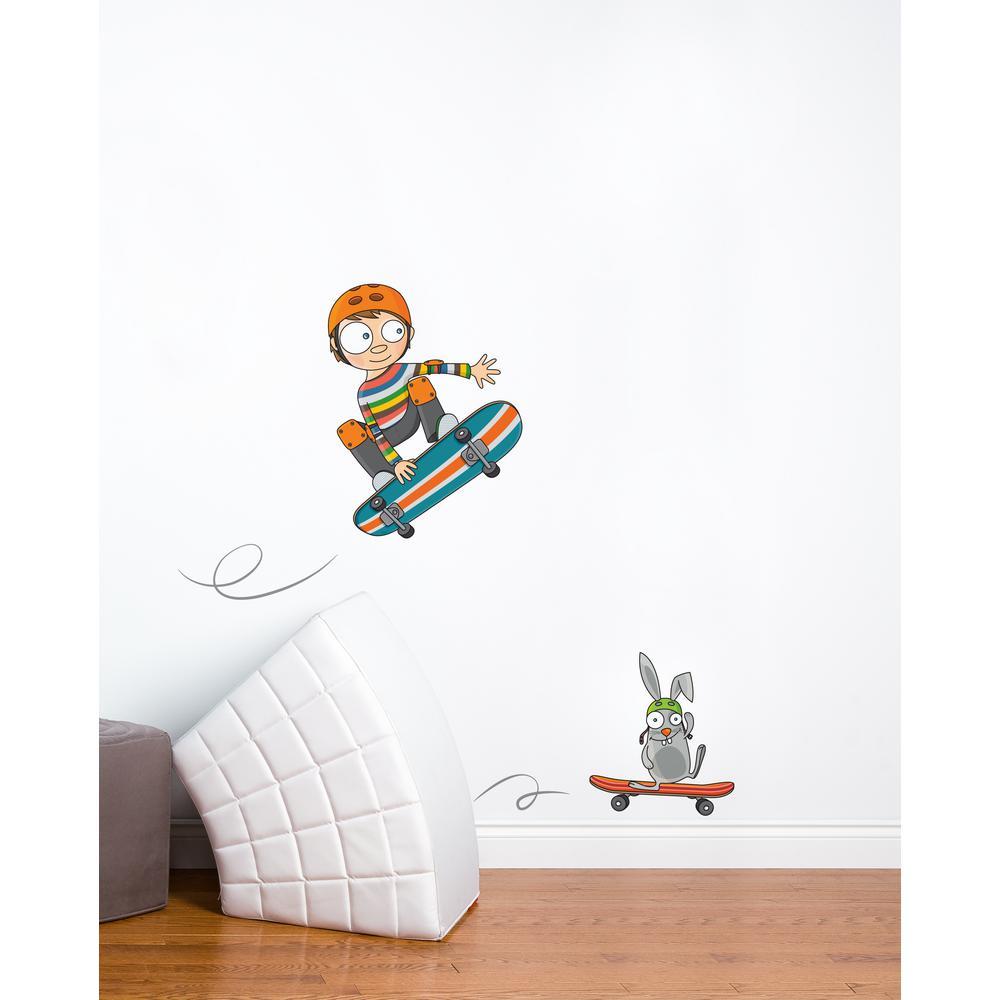 "(60.3 in x 55.9 in) Multi-Color ""Skateboarding"" Kids Wall Decal"