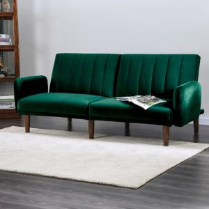 2 Furniture Of America Jelena Emerald Green Futon