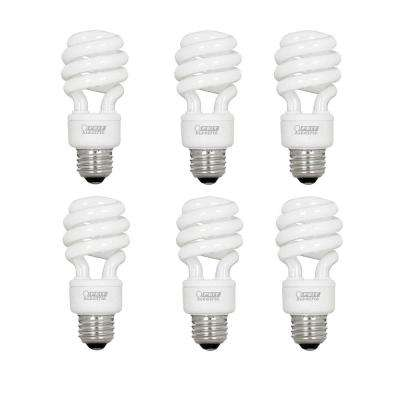 60-Watt Equivalent Soft White A19 Spiral CFL Light Bulb (6-Pack)