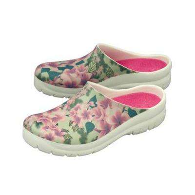 Women's Plumeria White Picture Clogs - Size 10