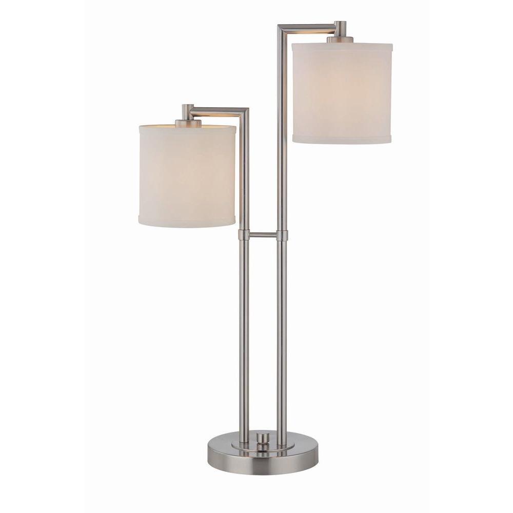 Illumine 2-Light Table Lamp Polished Steel Finish
