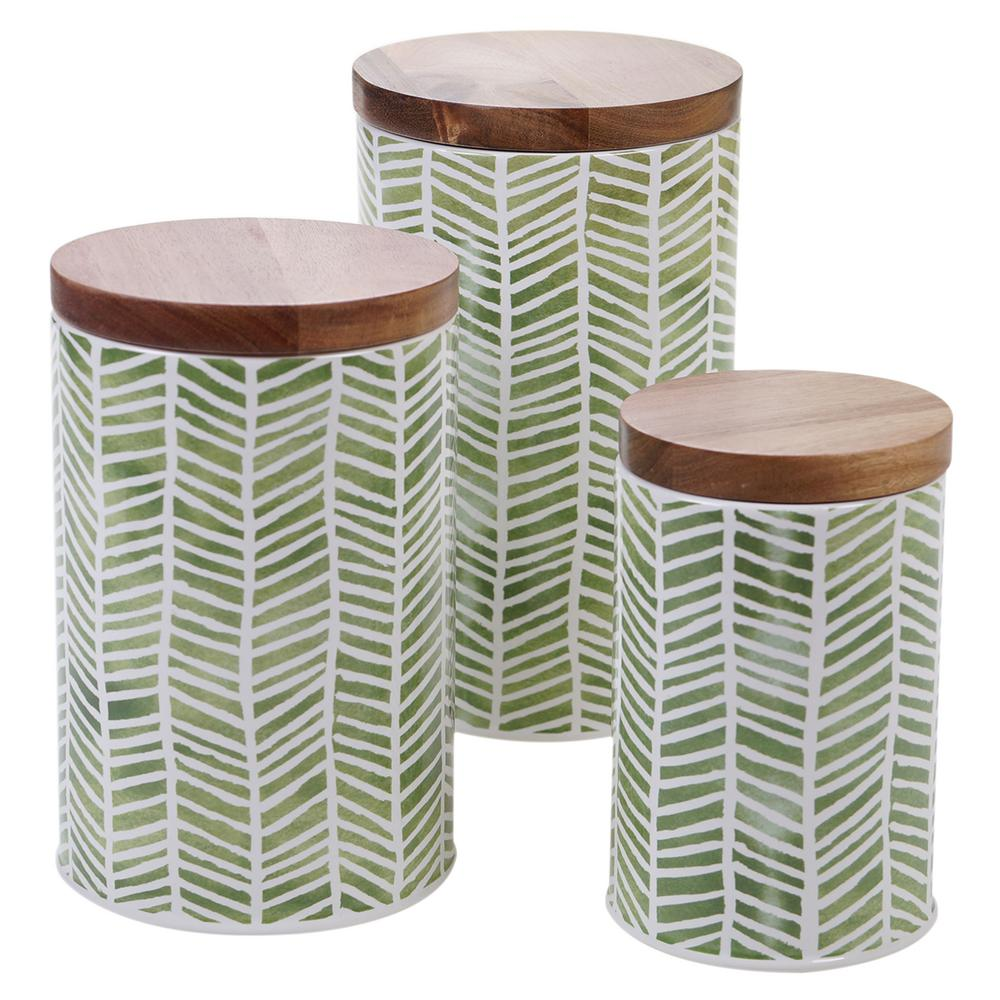 Patterns 3-Piece Ceramic Canister Set