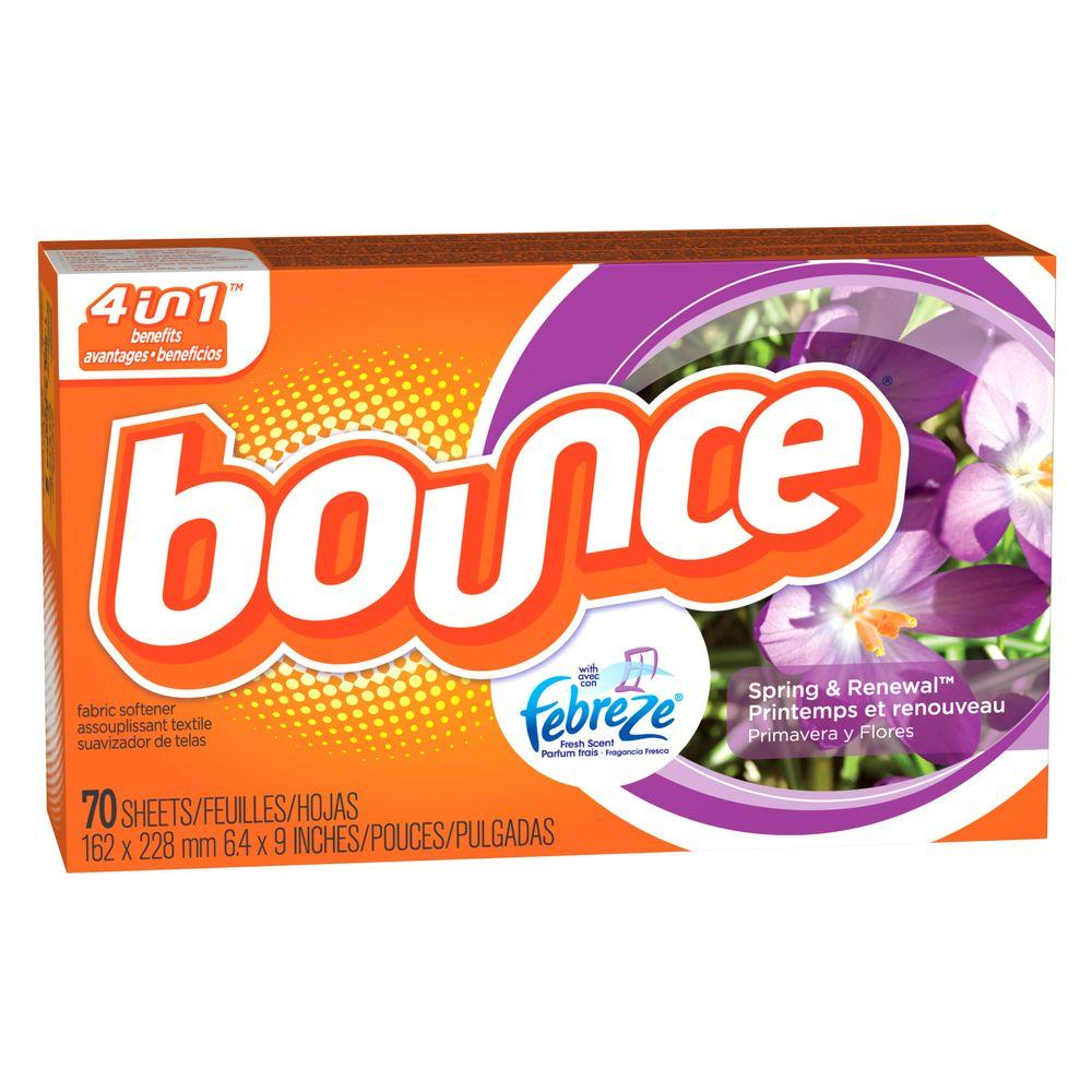 bounce spring and renewal dryer sheets with febreze 70