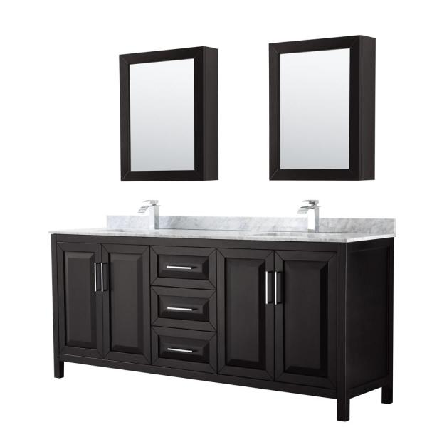 Daria 80 in. Double Bathroom Vanity in Dark Espresso with Marble Vanity Top in Carrara White and Medicine Cabinets