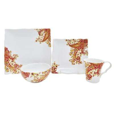 Surya Saffron 16-Piece Dinnerware Set