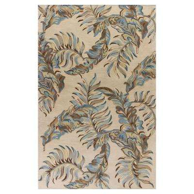 Exotic Leaf Grey 3 ft. 3 in. x 5 ft. 3 in. Area Rug