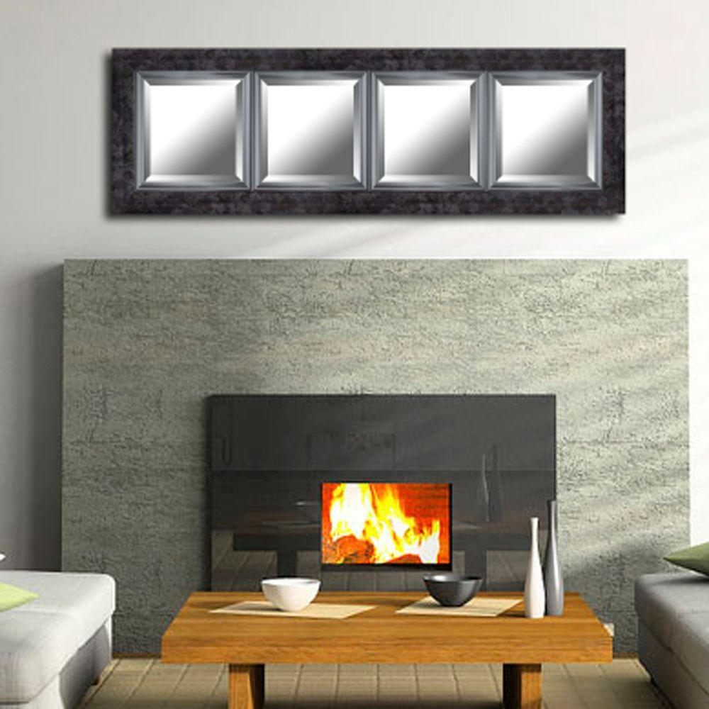 60.75 in. W x 19.25 in. H Black Marble Style Frame