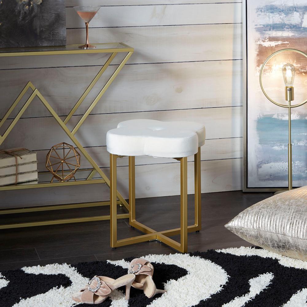Quatrefoil Cream Velvet Vanity Seat