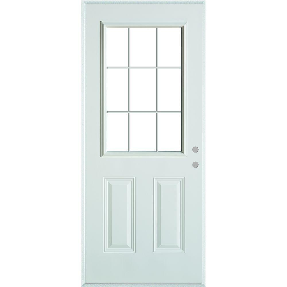 33.375in.x82.375in. Colonial 9Lite 2-Panel Painted White LeftHand Steel Prehung