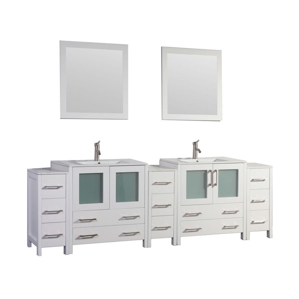 Vanity Art Brescia 96 in. W x 18 in. D x 36 in. H Bathroom Vanity in White with Double Basin Top in White Ceramic and Mirrors