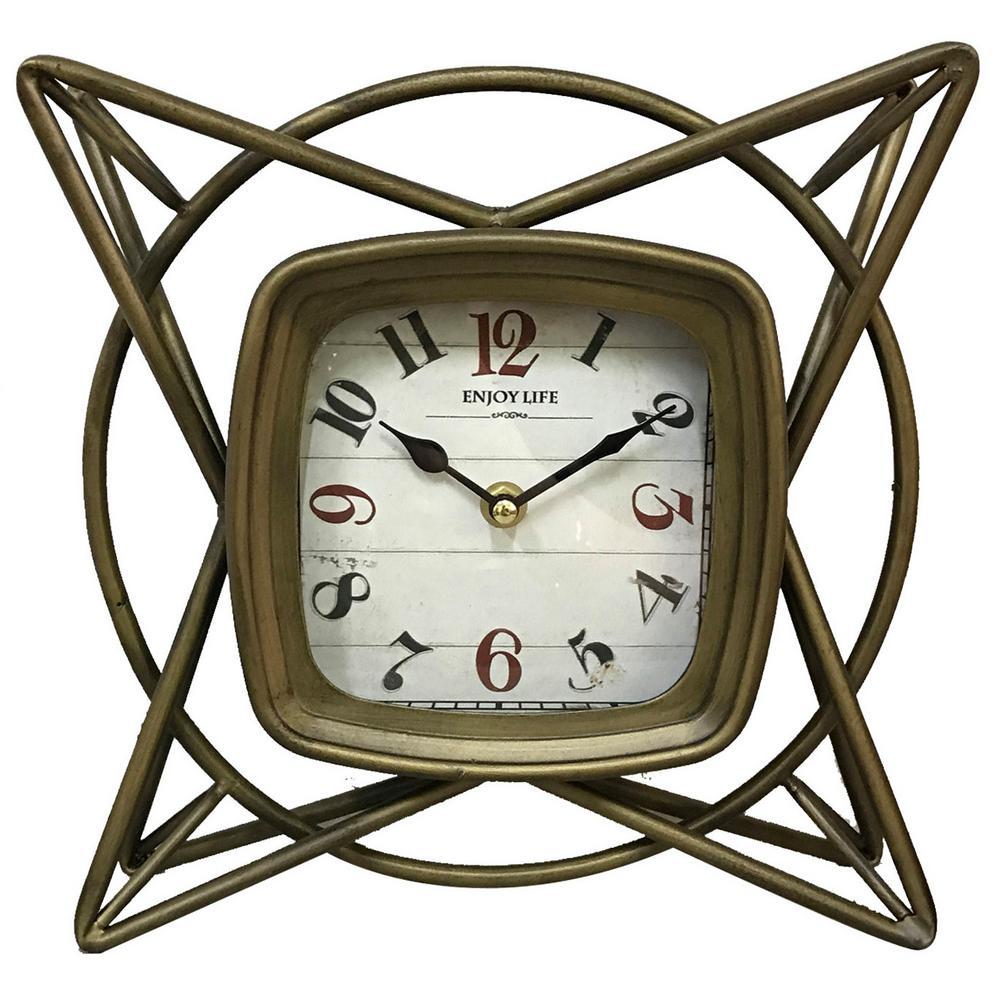 10 in. Metal Table Top Clock