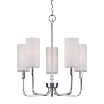 5-Light Brushed Nickel Chandelier with Off-White Linen Shade