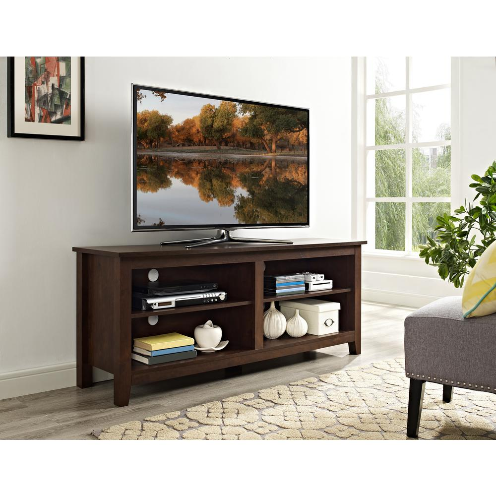 Amazing Walker Edison Furniture Company 58 In. Wood TV Media Stand Storage Console    Traditional Brown HD58CSPTB   The Home Depot