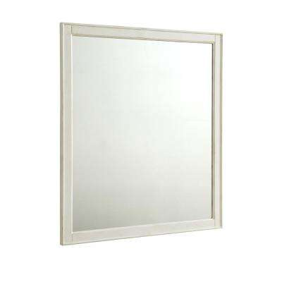 Wagner 32 in. Traditional Mirror with Antique White MDF Frame, Square Shape, Mounting Type: Metal Inset Hanger