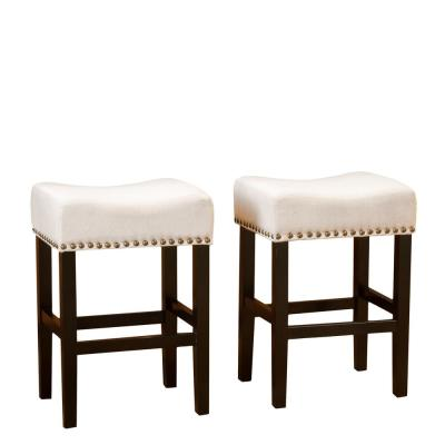 Laramie 26.25 in. Beige Cushioned Counter stool (Set of 2)