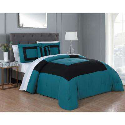Carson 8-Piece Teal and Black King Comforter Set