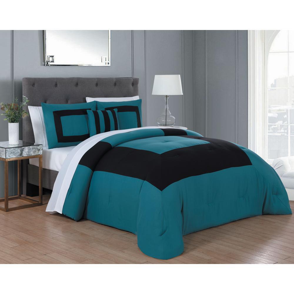 Avondale Manor Carson 8-Piece Teal and Black King Comforter Set CSN8CSKINGGHTB