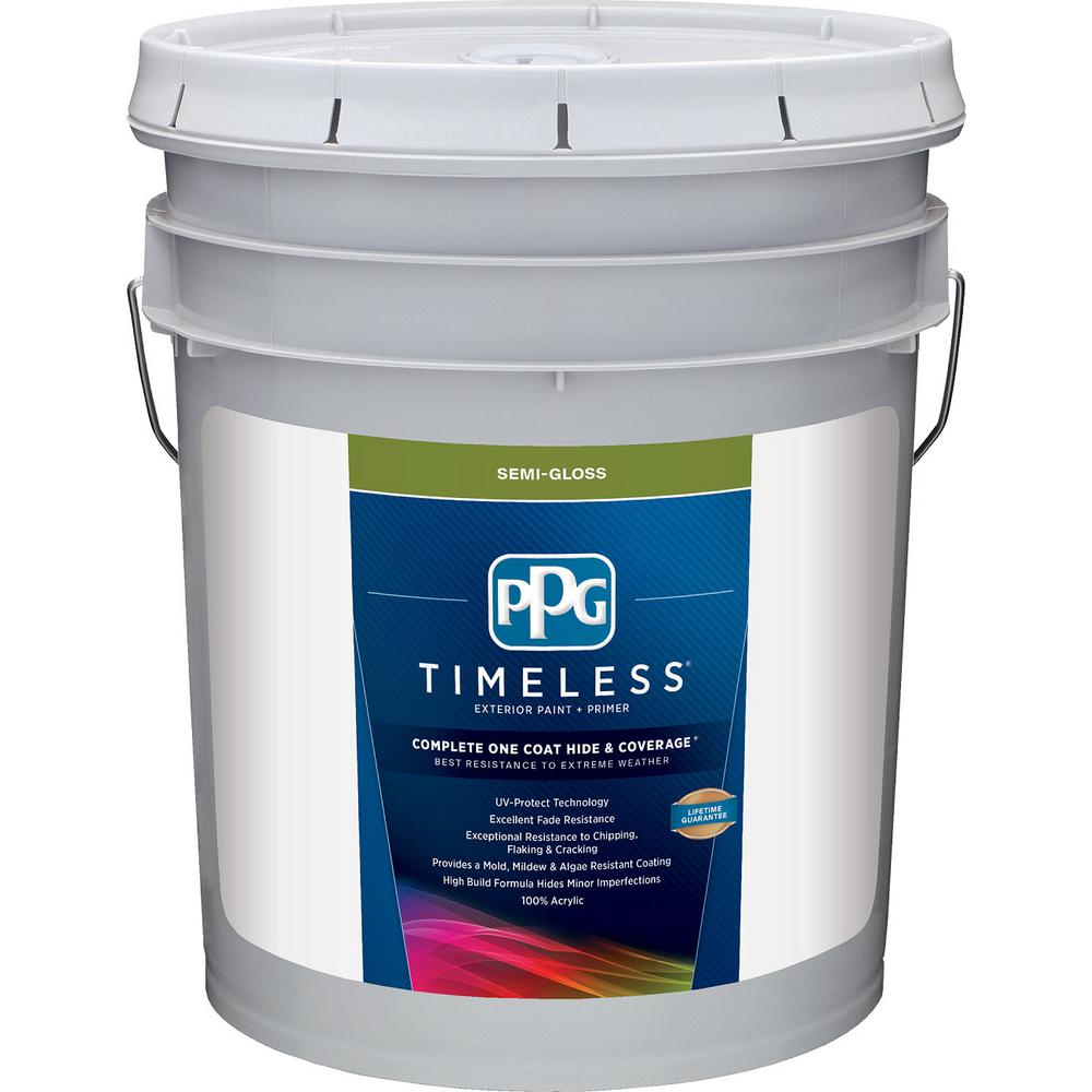 Ppg Timeless 5 Gal Pure White Base 1 Semi Gloss Exterior Paint With Primer Ppg73 510 05 The