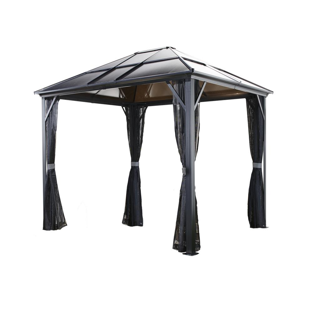 Sojag 10 Ft D X 12 Ft W Meridien Aluminum Gazebo With Uv Protected Roof Panels And Nylon Mosquito Netting 500 9162936 The Home Depot