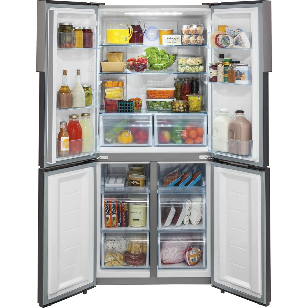 Haier 16.4 cu. ft. Quad French Door Freezer Refrigerator in Stainless on