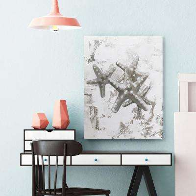 """20 in. x 30 in. """"Silver Starfish"""" by Milo Printed and Painted Canvas Wall Art"""