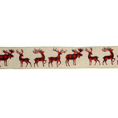 2.5 in. x 16 yds. Buffalo Plaid Deer and Sparkle Burlap Style Wired Craft Ribbon