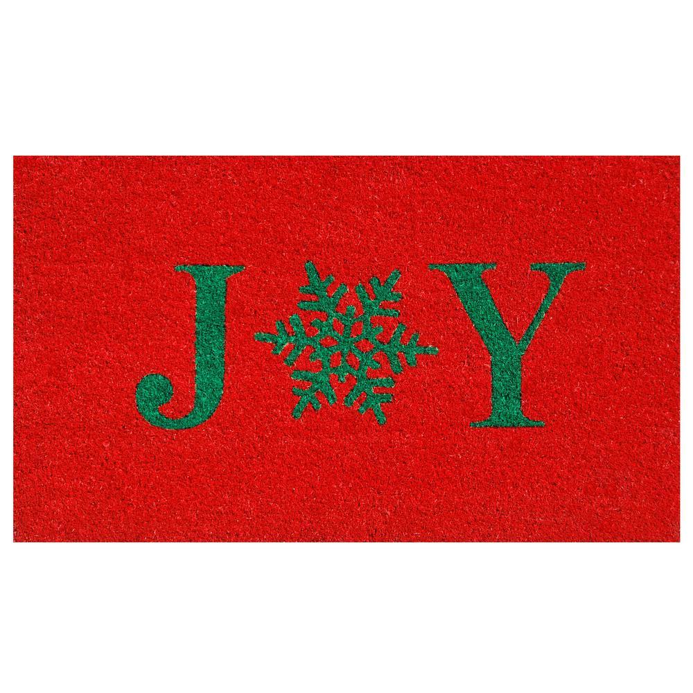 Snowflake Joy 17 in. x 29 in. Coir Door Mat