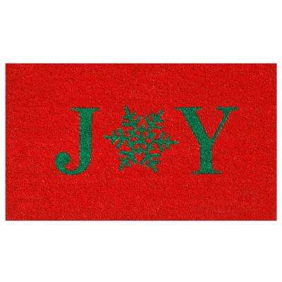 Snowflake Joy 17 in. x 29 in. Coir Door Mat