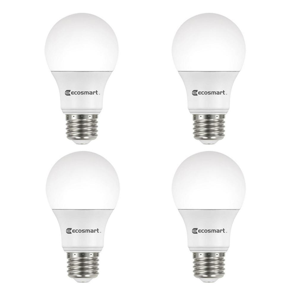 EcoSmart 60-Watt Equivalent A19 Dimmable Energy Star LED Light Bulb Daylight (4-Pack)