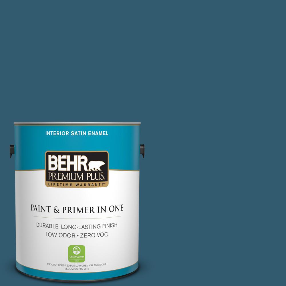 BEHR Premium Plus 1-gal. #ECC-13-3 Flowing River Zero VOC Satin Enamel Interior Paint